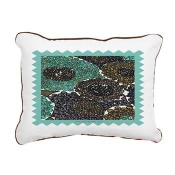 Teal Zinnias Rectangular Canvas Pillow