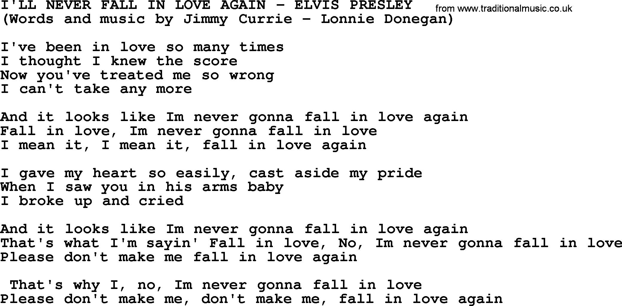 Ill Never Fall In Love Again By Elvis Presley Lyrics
