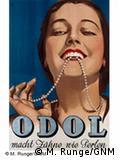 Odol, dos anos 1930, promete 'dentes qual pérolas'