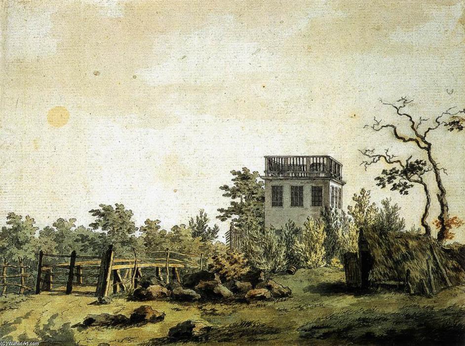 Paisaje con Pavilion (3), bolígrafo de Caspar David Friedrich (1774-1840, Germany)
