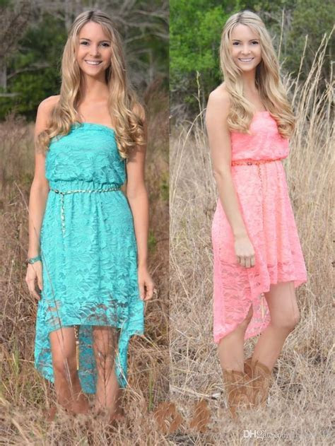 2016 High Low Lace Country Junior Bridesmaid Dresses Cheap