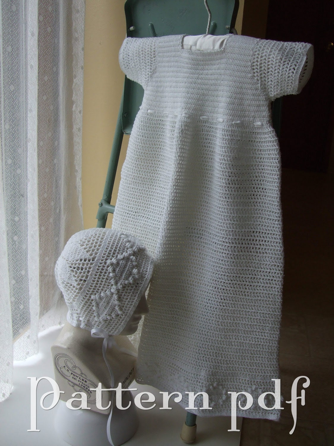 PDF Pattern - Crocheted Lace Party Dress or Christening Gown and Bonnet