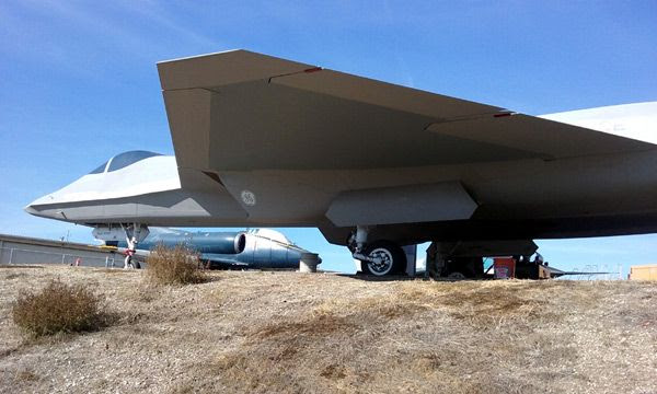 The YF-23 Gray Ghost  (with the A-4A Skyhawk visible underneath it) on display at the Western Museum of Flight in Torrance, CA...on November 23, 2016.