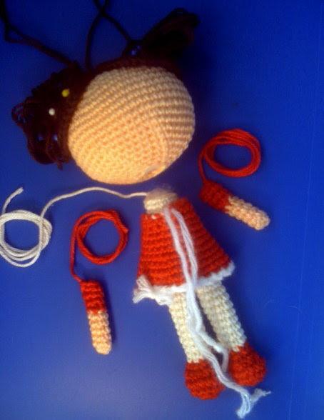 assembling the doll