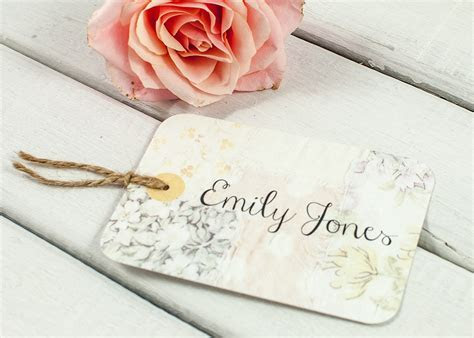 Floral patchwork Luggage Tag Wedding Place Card   norma