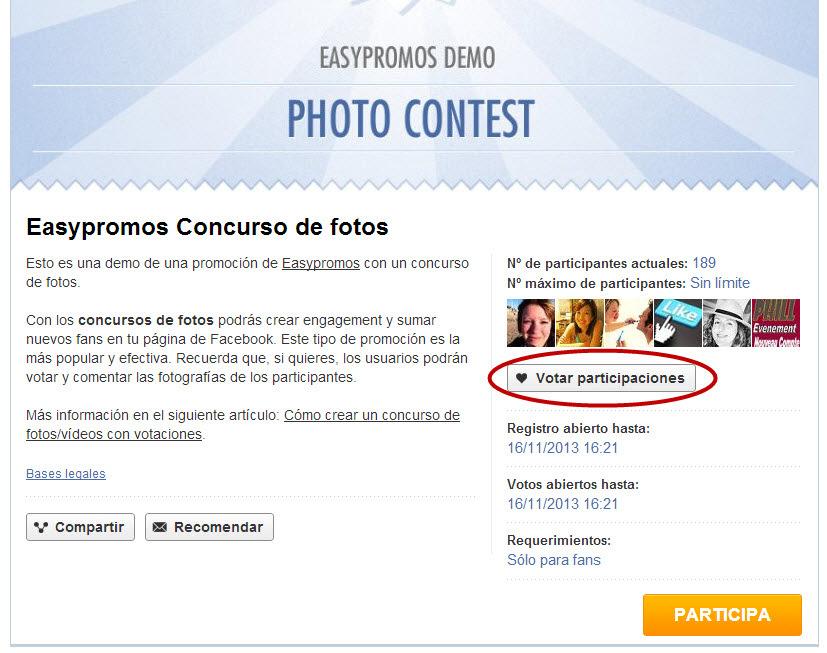 Easypromos - Votar participaciones