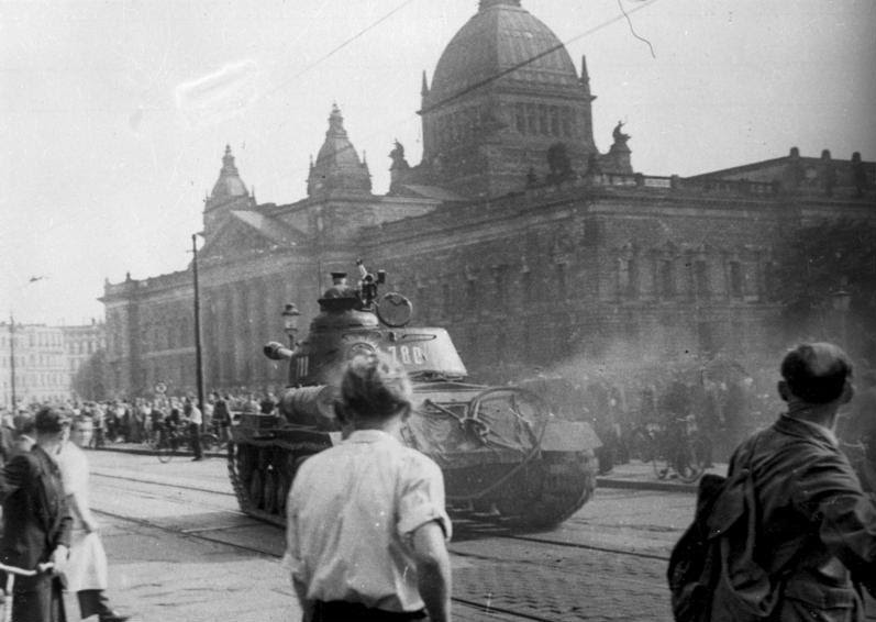 A Soviet IS-2 tank in Leipzig during the 1953 East Germany Uprising