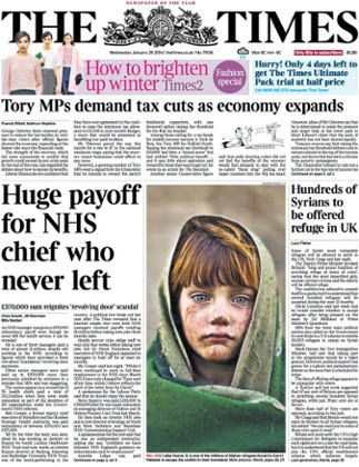 Page one of the Times on 29 January 2014
