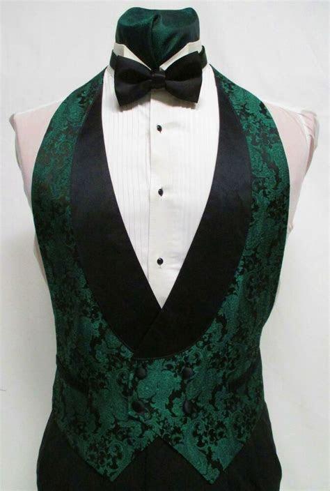 Boys Small Hunter Green Paisley Backless Tuxedo Vest