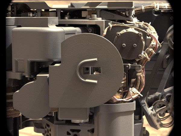 An image of the Curiosity Mars rover's sample-processing and delivery tool...taken with the Mastcam on February 23, 2013.
