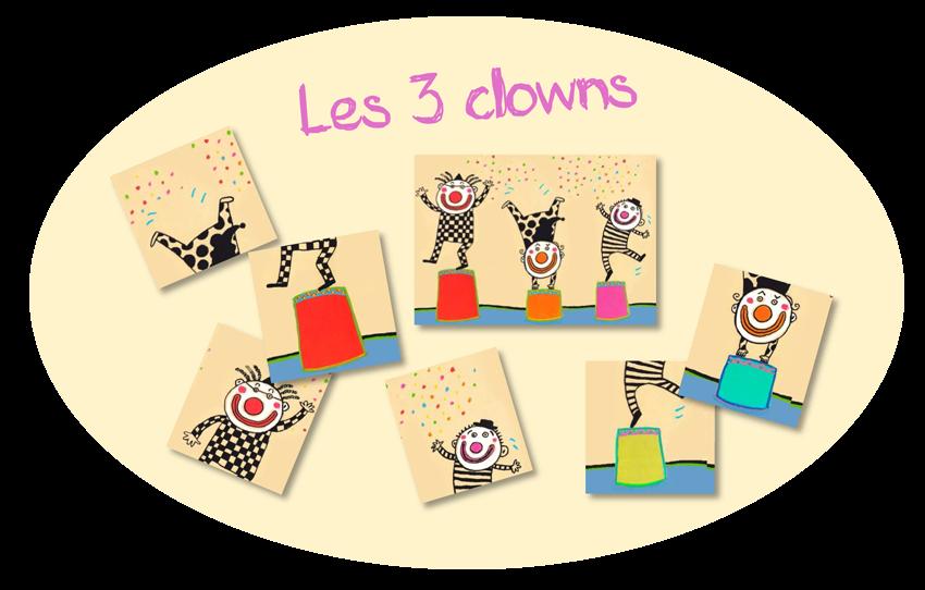 """Puzzle amélioré """"Les 3 clowns"""" à partir de Billes de clown"""
