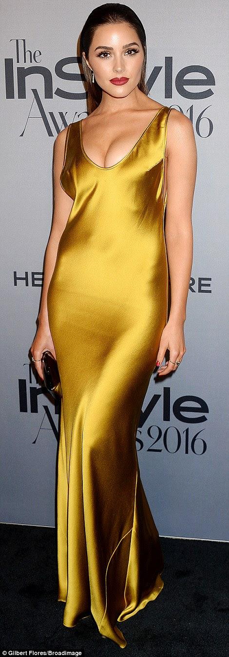 Oh tão sexy: Olivia Culpo fez com que todos os olhos estavam sobre ela em seu slinky vestido amarelo-ouro