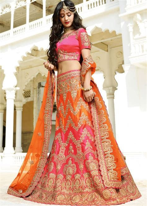 Orange and Pink Bridal Lehenga Choli with Dupatta   Ramji