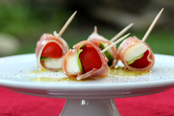 Prosciutto-wrapped Cherry Tomatoes, Mozzarella, and Basil Bites