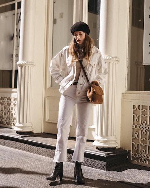 Le Fashion Blog Christie Tyler NYC Bambi Beret White Denim Cropped Jacket Neutral Sweater White Raw Hem Jeans Black Heeled Boots Via @Nycbami