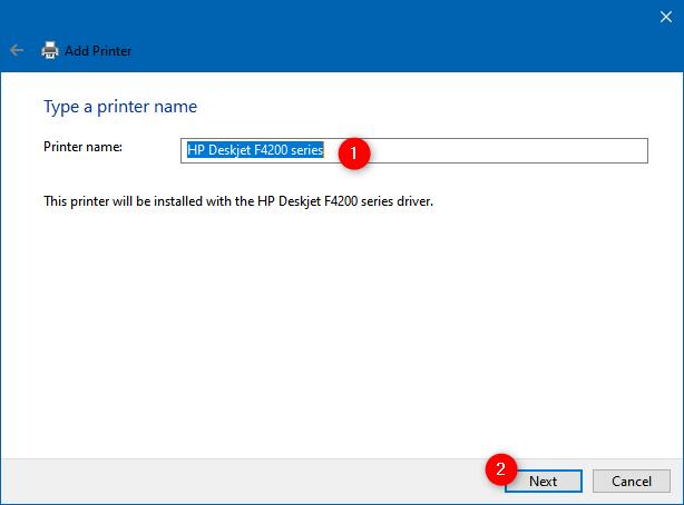 Introducción de un nombre para la impresora agregada manualmente