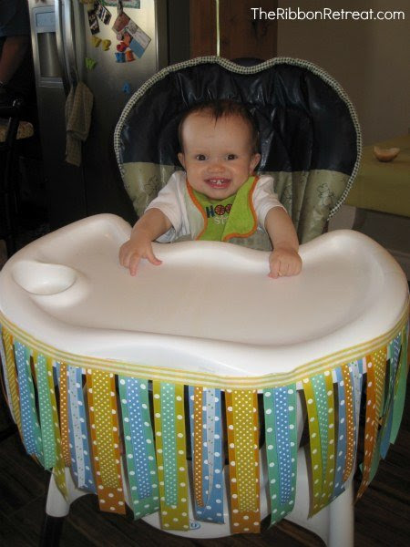 Happy in the high chair ribbon skirt!