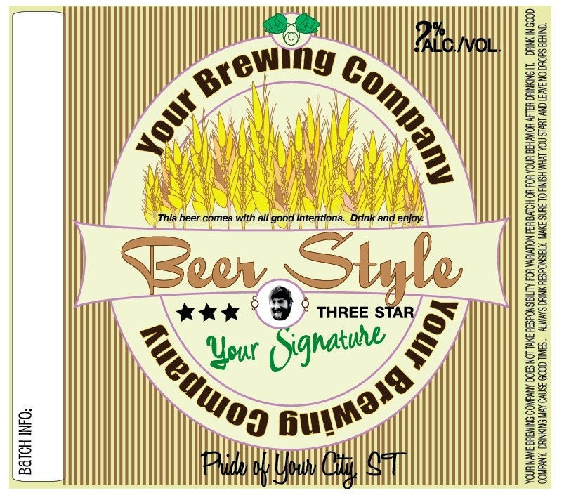 Home Brew Customized Beer Label - Whole Wheat