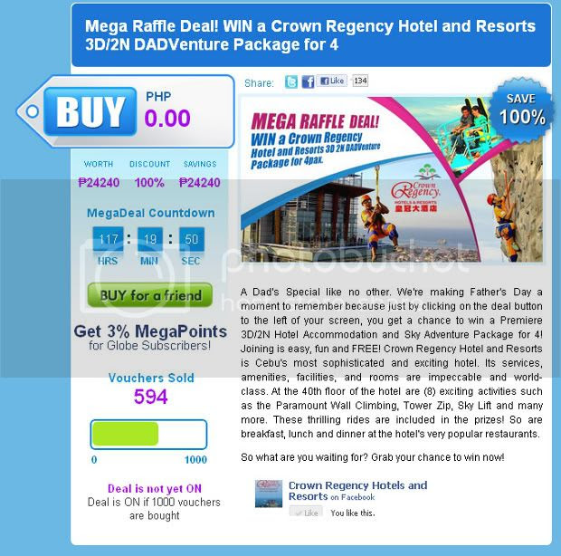 Mega Raffle Deal WIN a Crown Regency Hotel and Resorts 3D 2N DADVenture Package for 4