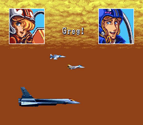 Reuniting with the other heroes of U.N. SQUADRON after completing the game...using an F-200 stealth jet.