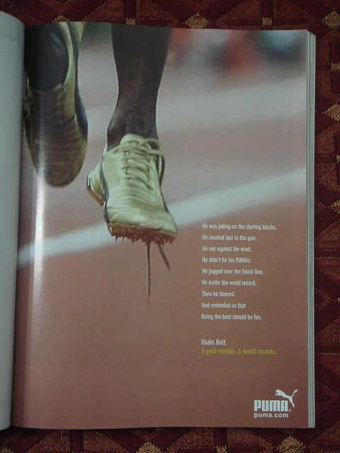 Puma press ad in honour of Usain Bolt's world records at Beijing