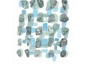 Sea Rocks - Abstract painting - Beach finds - Original abstract painting - white titanium blue watercolor painting - LouisestArt