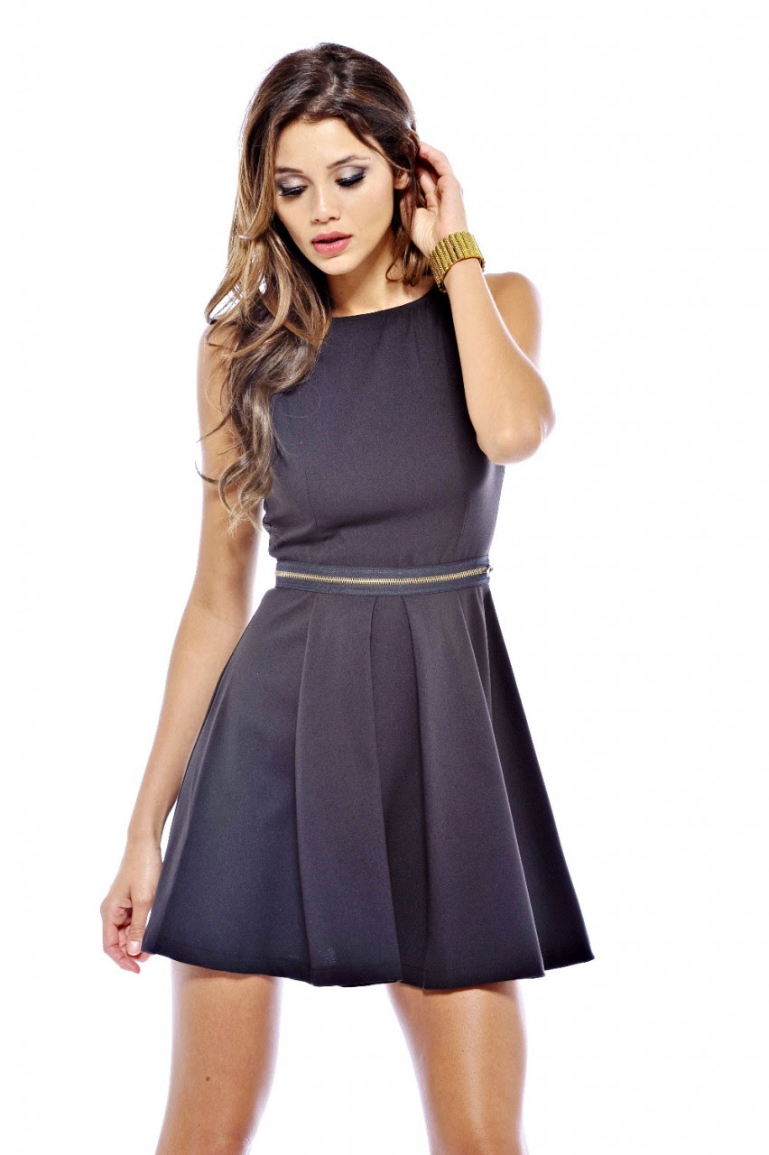 AX Paris Women's Waist Zip Skater Black Dress