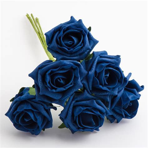 6 Navy Blue Foam Roses 5cm, Foam Roses at Favour This