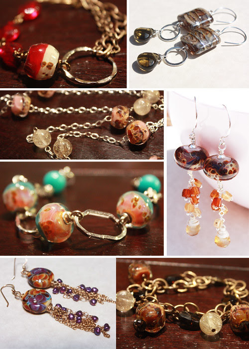 handmade artisan lampwork jewelry, necklace, bracelets, earrings by Moxie Grace