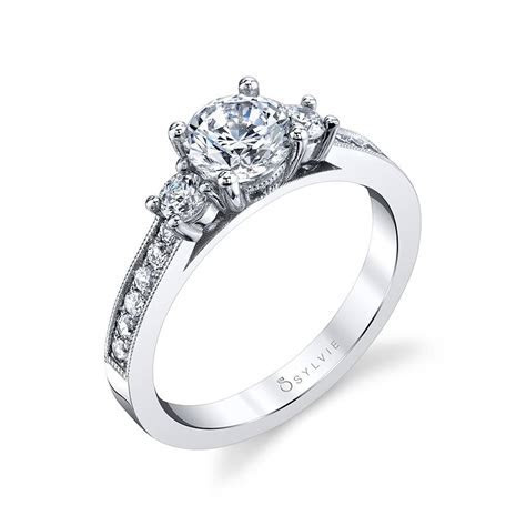 Bianca   Three Stone Engagement Ring with Milgrain Detail