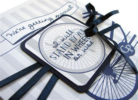 Bicycle/Cycling Themed Wedding Invitation in Navy & White