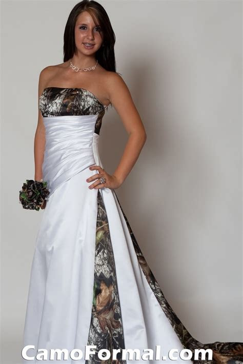 3137 Camo and Satin Bridal Gown Camouflage Prom Wedding