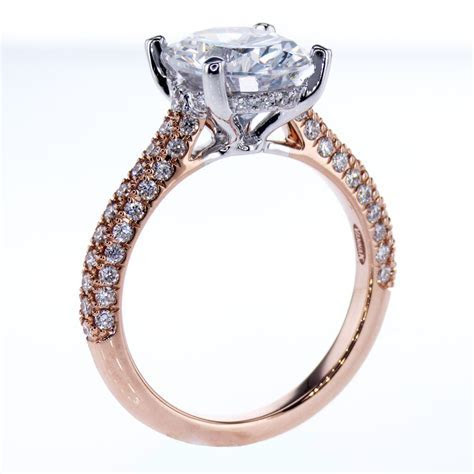 Vanna K Two Tone Diamond Engagement Ring, 18k White & Rose