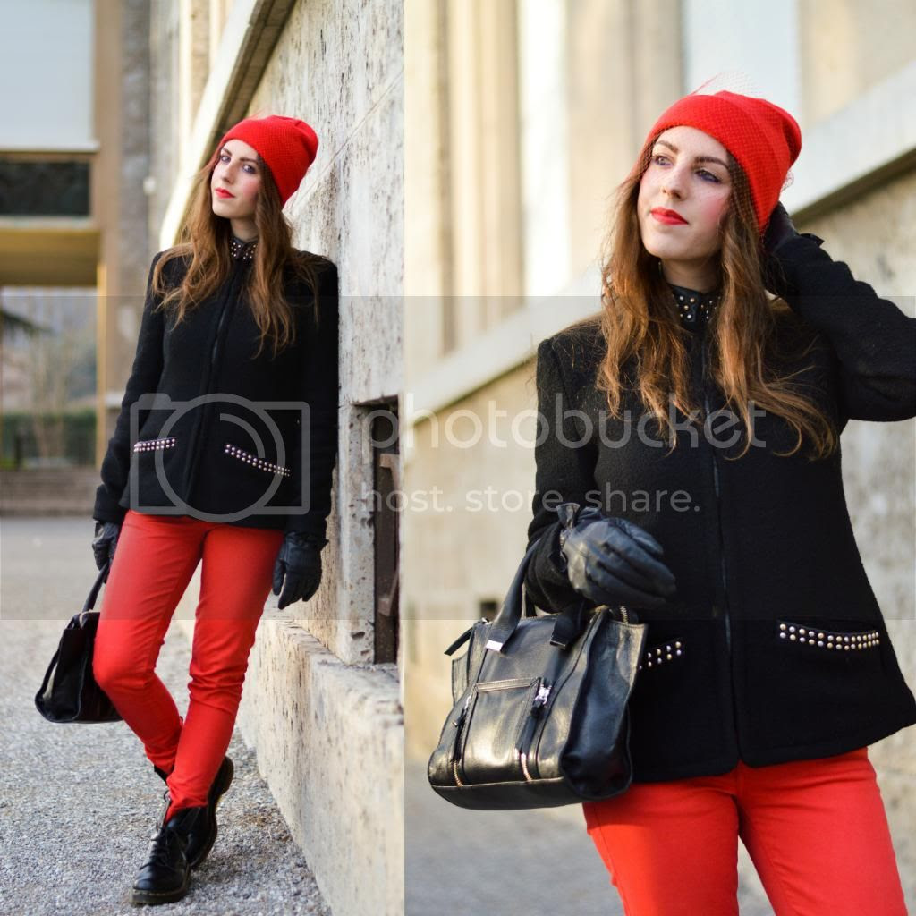 Jil Sander DIY Veiled Beanie Beanie con veletta trend cappello urban chic Zara Black Mini Leather City Bag How to wear Dr Martens Boots 1460 Red pants leather