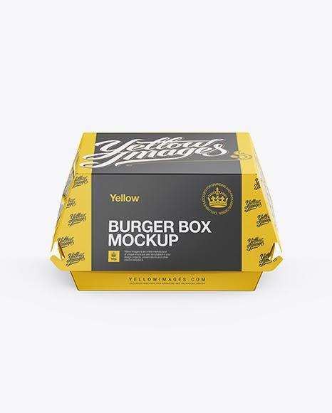 Download Free Paper Burger Box Front View High-Angle Shot Mockups ...
