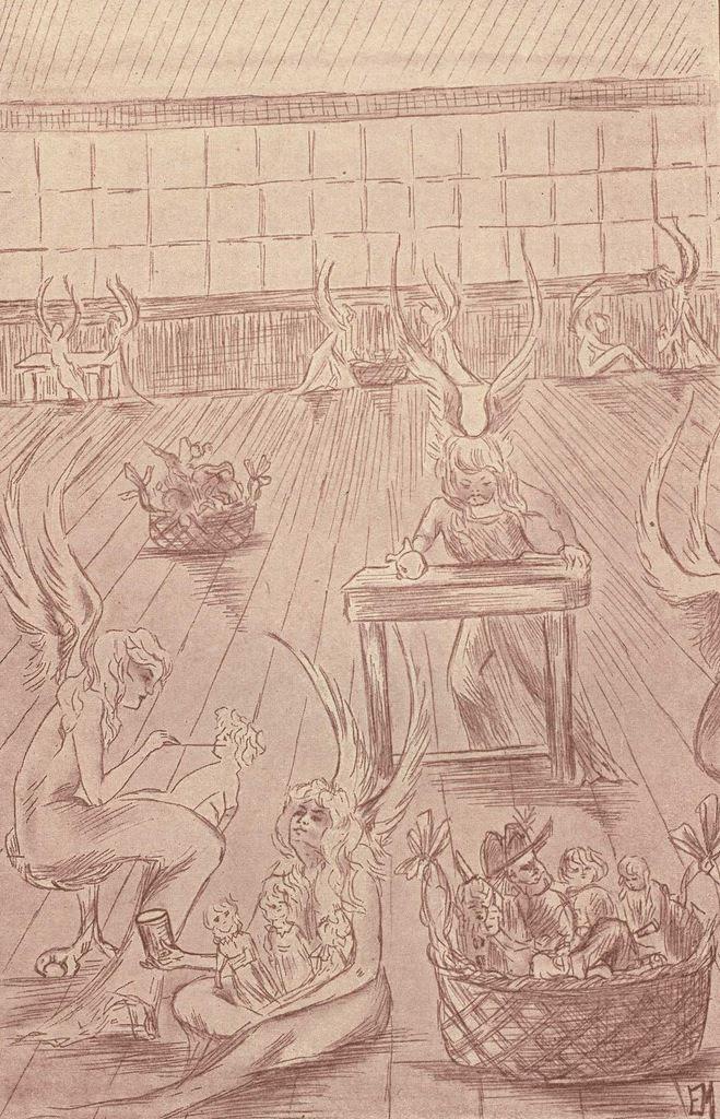 """Cinquième et dernier dessin hors texte d'Étienne Morannes (Claire Demolder-Rops) en tête du chapitre XXII, """"La fabrique de jouets"""""""
