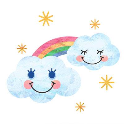 おしゃれなイラストが無料イラストカップillustcup 雲と虹
