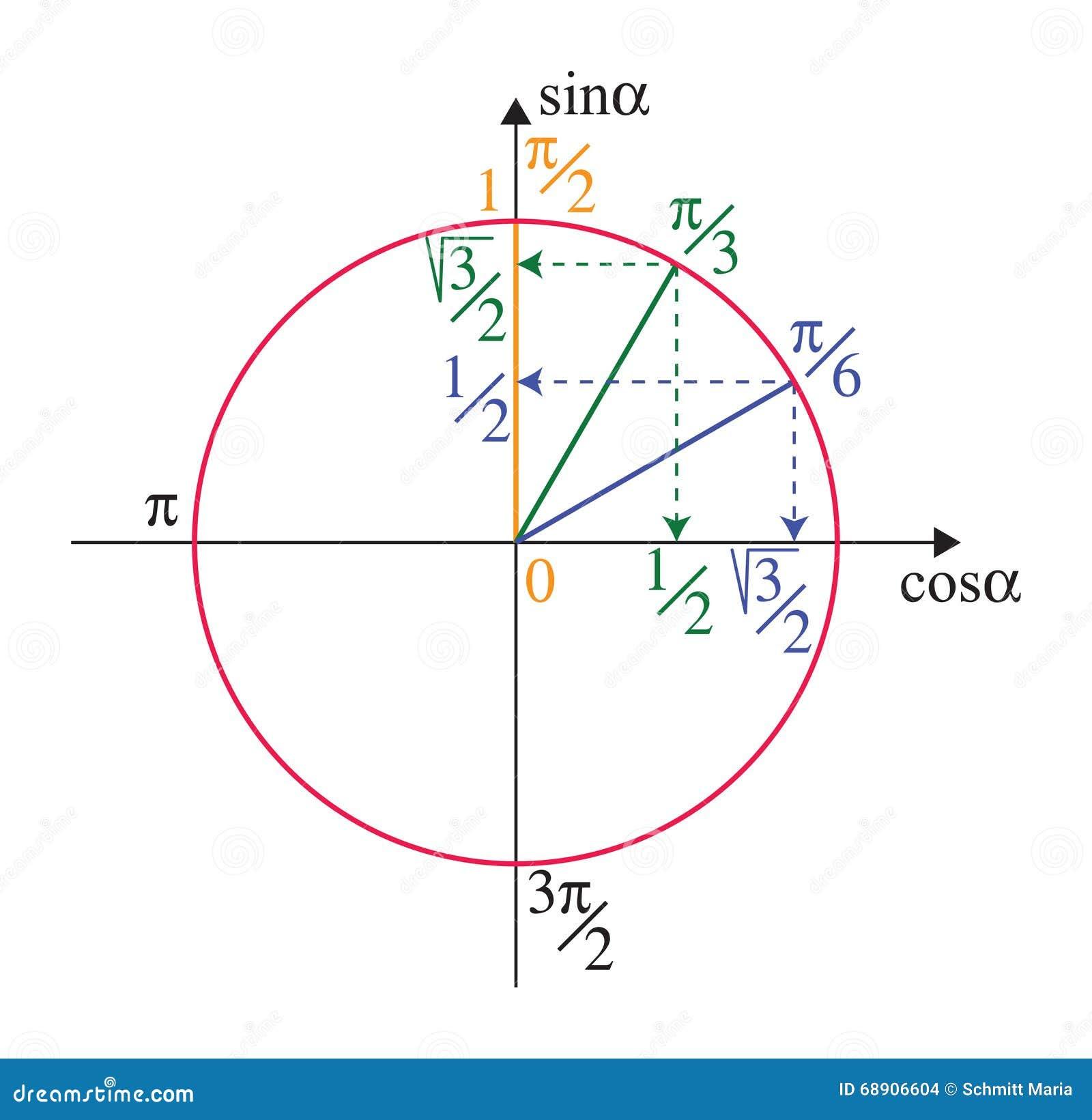 Trigonometric Unit Circle Stock Vector - Image: 68906604