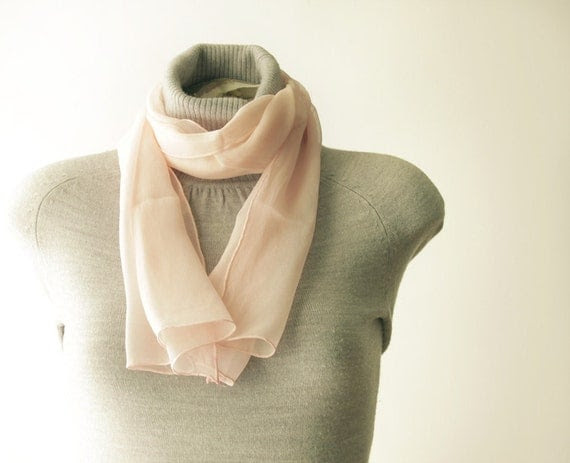 Vintage Long Silk Scarf for Women by Echo - Salmon Pink - 36