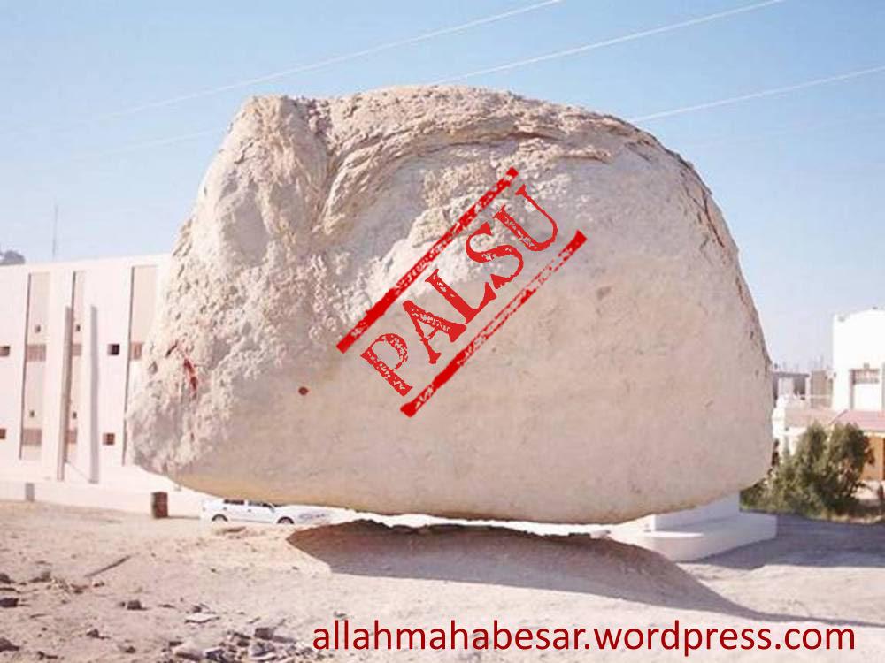 Batu Terbang, batu isra' mi'raj, batu melayang, batu gantung, atau batu ajaib yang ternyata palsu dan merupakan hasil manipulasi atau rekayasa gambar