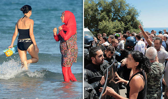 A woman in a burkini and the fight