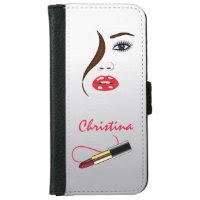 Face Red Lipstick Kiss Mirror Phone 6 Wallet Cases iPhone 6 Wallet Case