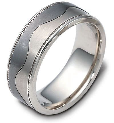 Dora Mens Wedding Band with Two Tone Wave Design