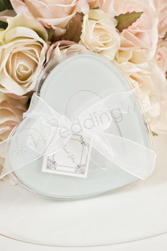 Wedding Glass Coasters With Heart Shaped Photo 2 Pack Wedding Wish