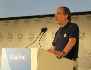 Leonardo Gryber em apresentação sobre Rio 2016 em Londres (Foto: Lydia Gismondi / Globoesporte.com)