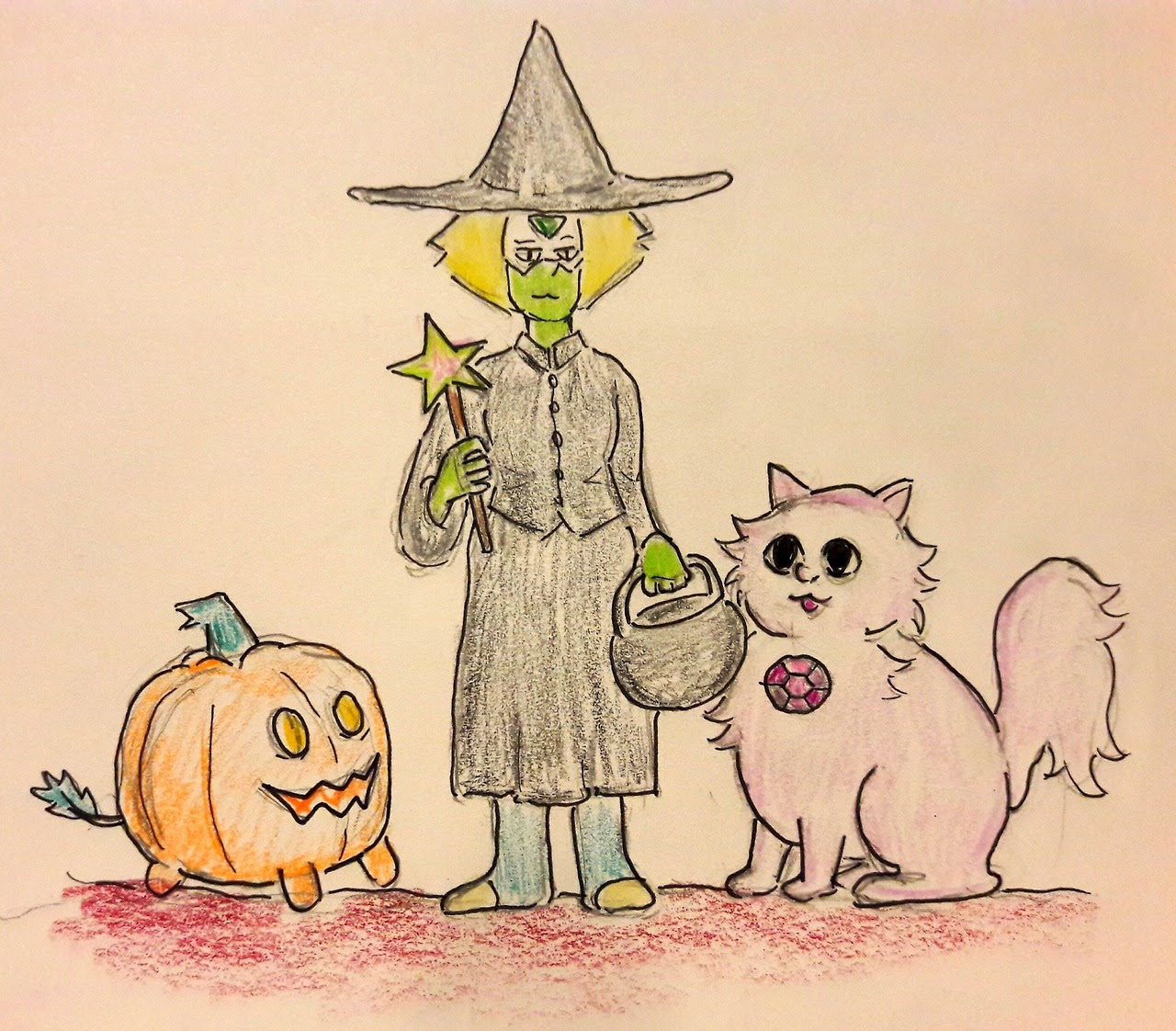 "Steven Spookiverse: ""Pumpkin"" prompt with witch Peridot and her familiar Catmethyst"