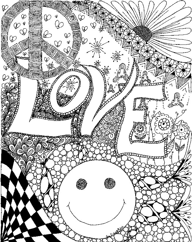 Art Therapy Coloring Page Love Love 4