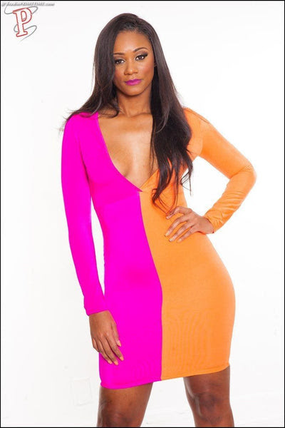 Open shoulder patchwork slit color block colouring bodycon dress saw