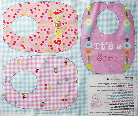 pink girl bib pattern template