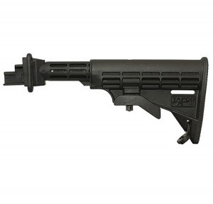 Black T6 six-position adjustable stock for AK-47